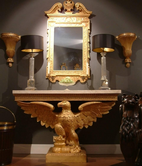 English Georgian - Showroom Chelsea Harbour Design Centre Eagle Console George III Mirror Silver Lamps and Gilt Adam Brackets