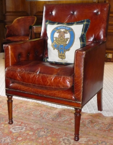 English Georgian - Leather Country House Library Chair