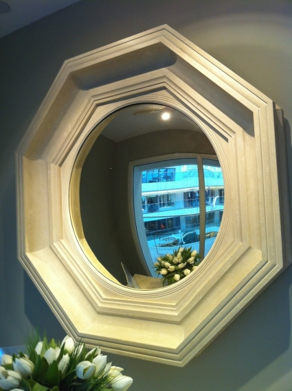 English Georgian - Octagonal Convex Mirror Painted Finish